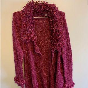Beautiful fuchsia sweater with ruffle collar